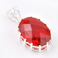 Wholesale Oval Red Gem - 10 Pcs 1 lot LuckyShine Fire Oval Red Quartz Gems Crystal 925 Sterling Silver Wedding Pendants Russia American Australia
