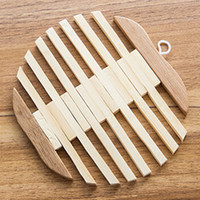 Wholesale Fish Dishes - Wholesale- Korean Hollow Wood Cup Coaster Dish Plates Mats Placemat Table Decoration Apple Fish Style Pad Dining Room Gadget