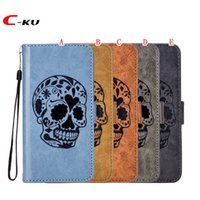 Retro Skull Flip Wallet Funda de cuero para Iphone X MOTO C Plus E4 G4 Juega G5 Plus G6 Z2 Correa de juego Cartoon Stand Phone Phone Skin Cover 50pcs