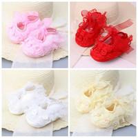 Wholesale purple flower baby shoes for sale - New Baby Newborn Infant Cute Girls Crochet Lace Flower Lace up Shoes m prewalker