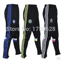 Wholesale European Football - Wholesale-European and American fashion sweatpants men outdoor training pants, casual football pants legs tight trousers