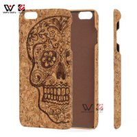 Wholesale wood pattern for carving - Lightweight Cork Wood Case for iPhone 7plus 8plus 7+ 8+ Slim Back Frame Pattern Carved Housing for Apple 7 8 plus