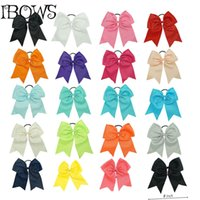 "Wholesale Wholesale Metallic Ribbon - Wholesale- Wholesale 8"" Large Ribbon Cheer Bow With Elastic Band Rhinestone Cheerleading Bow For Baby Girl,Handmade women Hair Accessories"