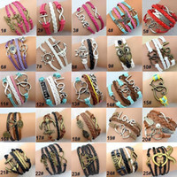 Wholesale Anchor Charm Bronze - 125 Designs Leather Bracelet Antique Cross Anchor Love Peach Heart Owl Bird Believe Pearl Knitting Bronze Charm Bracelets jewelry - 0007DR