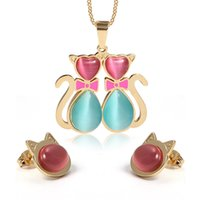 Wholesale Semi Precious Stone Necklace Sets - Newest Design Gold Stainless Steel Multi-Color semi-precious stone Necklace Pendant & Earrings Jewelry Set Women Fashion Hot Romantical Gift