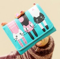 Cute Cats Lady Faux Leather Carteira de cartão de crédito Carteira Bifold ID Cash Coin Purse Clutch