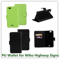 Wholesale Highway Signs - 1PCS New Green Color PU Leather Sliding Floding Book Style Pouch Wallet Case for Wiko Highway Signs with Magnetic Closure Free