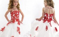 Wholesale Dresses For Girls Toddlers - 2015 New Lace Toddler Spaghetti White And Red Organza Beaded with Handmade Pageant Dresses for Girls Free Shipping