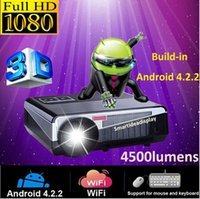Wholesale Power Support Lcd - 4500lumens 1080P 3D Led android 4.2 Projector WIFI Projectors beamer proyector projektor TV,support 1920*1080 ,Bridgelux 220W high power LED