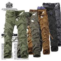 homens calças casuais militares venda por atacado-Homens Casual Calças Táticas Baggy Calças de Trabalho Muitos Bolsos Militar Do Exército Carga Camo Calças Calças de Trabalho