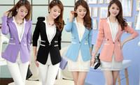 Wholesale Collarless Suit Jacket Women - Elegant New Women Clothing Korean One Button Collarless Epaulets Blazer Coat Lady OL Casual Suit Jacket Spring Autumn Outwear