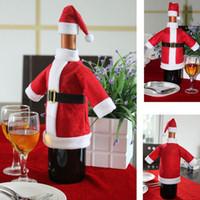 Wholesale Santa Christmas Wrap - Christmas Wine Bottle Cover Santa Claus Hat Jacket Clothes Wrap New Year Table Decorations