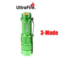 Wholesale Mini Cree Led Flashlight 7w - Free DHL,50pcs Green Flash Light 7W 300LM CREE Q5 LED 3-Mode Camping Flashlight Torch Adjustable Focus Zoom waterproof flashlights Lamp