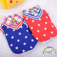 Wholesale Small Cotton Doggie Clothes - False two-piece small dog costumes stars pattern cotton winter dog coats red blue dog shirts chihuahua yorkie doggie clothes pets store