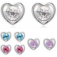 Wholesale Swarovski Crystal Earings - Brand Heart Earings Fashion Jewelry Austrian Crystal Designer High Quality Stud Earrings made with Swarovski Elements 11200