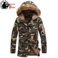 Wholesale Military Fur Coat Men - Mens Long Winter Camouflage Jacket Fur Hooded Down 2017 Outwear Thick Military Style Parkas Male Big Coats Army Green Camo 3XL