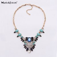 Wholesale Vintage Costume Jewellery - [Marte&Joven] New Trendy Vintage Fine Costume Jewellery Shourouk Style Flower Statement Choker Necklace For Women