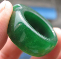 Wholesale Chinese Green Stone - antique Chinese green jade soft jade man thumb ring size 11
