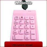 Wholesale Silicone Numeric Keypad - Wholesale-10pcs lot 18 keys mini waterproof portable dustproof silicone numeric keypad with retractable USB cable black free shipping