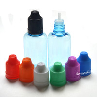 Wholesale Tips For Bottles - 30ml Oil Blue Bottle PET Empty Dropper Bottles with Child Proof Caps and Long Tips For e liquid e juice