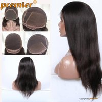 "Wholesale Hand Tie Wig Caps - Top Quality Human Hair Wigs Indian remy Hair Glueless Cap Natural Straight Natural Color 18-20"" Full Lace wigs"