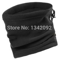 fleece beanie schwarz großhandel-Großhandels20pcs / lot eine Schicht schwarzer Winter-Ansatz-Wärmer-Unisexpolares Vlies Snood Schal Beanie-Hut