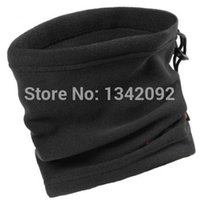 Wholesale Polar Fleece Beanie Hat - Wholesale- 20pcs lot One Layer Black Winter Neck Warmer Unisex Polar Fleece Snood Scarf Beanie Hat
