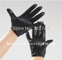 Wholesale Nappa Gloves - Wholesale-man's black tight style first grade soft nappa leather gloves in black free shipping black color