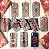 Wholesale Iphone Cases Bees - Luxury brand embroidery tiger snake Bee mobile phone shell Case for iphone X hard back cover for iphone 7 7plus 8 8plus 6 6S 6plus