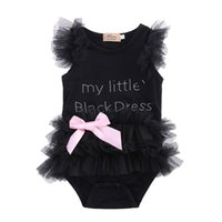 ingrosso corti vestiti neri svegli di halloween-Neonati pagliaccetti Neonati Neonati Vestiti My Little Black Dress Bow Lace manica corta Cute Cotton Outfits Baby Girl Tute Abbigliamento
