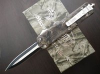 Wholesale Micro Aluminum Box - Hunting Knives Microtech A07 Troodon Double Blade Fine Edge Camouflage Rescue Knife Micro Cutting Tool With Original Box L