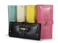 Wholesale Leather Credit Card Belt Buckle - 2016 New fashion Vintage Womens girl rivet belt buckle PU leather wallet burse purse bag 5 color