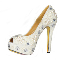 Handmade Spring Women Plataformas Ivory Pearl Peep Toe Casamento Bridal Shoes Crystal Evening Party Dress Pumps Bridesmaid Shoes
