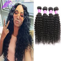 Wholesale Cheap Real Hair Pieces - 8A Brazilian hair weave Brazilian real human hair pieces kinky curly Indian Malaysian Peruvian Brazilian hair extensions cheap natural color