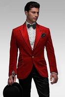 Wholesale Stylish Grooms Tuxedos White - 2015 New Arrivalc -- Stylish Peak Lapel Red Slim Fit Groom Tuxedos Haut Men's Wedding Dress Prom Clothing