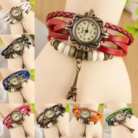 vintage weave wrap uhr großhandel-Frauen Leder Armbanduhr Charme Armband Retro Vintage Eiffelturm Anhänger Weben Wrap Quarz 8 Farben