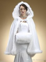 Wholesale Winter Capes For Wedding Dresses - Faux Fur Shawl with Muff Winter Bridal Cape Christmas Cloaks Jackets Hooded Perfect For Winter Wedding Bridal Wraps Abaya Wedding Dresses