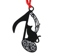 Wholesale Cats Bookmarks - 25pcs Stainless Steel Black Music Symbol Cat Bookmark Book card For Wedding Baby Shower Party Birthday Favor Gift Souvenirs