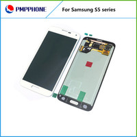 Wholesale Galaxy Lcd Digitizer Black - For Samsung Galaxy S5 i9600 G900F G900H G900M G900 White black Touch LCD Screen display Digitizer Replacement free shipping