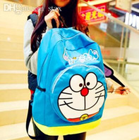 Wholesale Doraemon Backpack - Wholesale-Doraemon Nylon bag doraemon backpack jingle cats cute cartoon leisure Male and female high school backpack 40 cm * 29 cm * 17 cm
