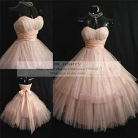 Wholesale Purple Sweetheart Ball Gown S - Vintage 1950's Shell Pink Prom Dresses 2015 Strapless Layers Tulle Sequins Tea Length Short Homecoming Dress Ball Gown Wedding Party Gowns