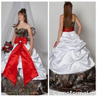 Wholesale Red Wedding Gowns Online - Beautiful Sweetheart Ball Gown Satin Wedding Dresses Draped Chapel Red Ribbon Formal Bridal Gowns Custom Online Vestidos De Novia 2016