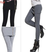 Wholesale Two Leg Color Leggings - Top Hot Leggings Women False Two Pieces Stretch Legging With Mini Skirt Zipper Leggins Fitted Slim Pants Casual Leggings Grey Black SV008451