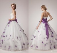 Wholesale Unique Modern - White and Purple Wedding Dresses 2017 Unique A Line Strapless with Pearls Crystals Sleeveless Corset Bodice Bow Tie Sash Butterfly Appliques