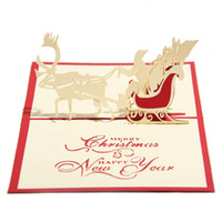 Wholesale greeting cards pop - Handmade Christmas Cards Creative Kirigami & Origami 3D Pop UP Greeting Card with Santa Ride Desgin Postcards for Kids Friends