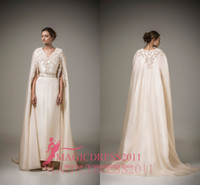 Wholesale Short Satin Wedding Jackets - Charming Ivory Evening Dresses Ashi Studio Caftan Arabic Long Formal Prom Gowns Arabic 2016 A-Line V-Neck Crystal Wedding Party Celebrity