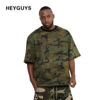 Wholesale Army New Camo Shirt - 2017 HEYGUYS new design camouflage colors fashion hip hop plain plus short sleeve T shirt camo army summer men t-shirt q17118