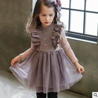 Wholesale Tutu Double Color - Kids vest dress autumn girls lace embroidery princess dress children double falbala fly sleeve pleated dress kids tulle tutu dresses R0981
