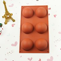 Wholesale Chocolate Moulds Sale - Hot Sale Half Ball Sphere Chocolate Cake Muffin Pastry Jelly Silicone Mold Tray Free Shipping wen4707