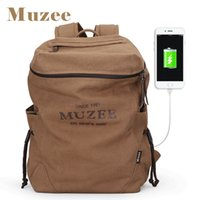 Wholesale College Book Bag - Muzee New Men Backpack Canvas Backpack Bags College Student Book Bag Large Capacity Fashion Backpack 15.6inch Laptop Bag